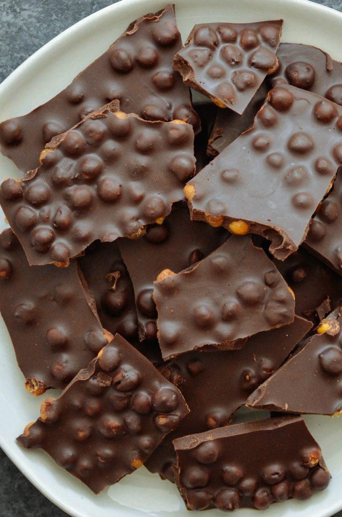 Vegan Dark Chocolate Chickpea Bark