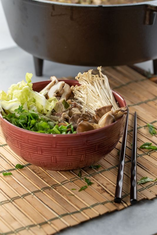 asian recipes, sukiyaki in a bowl, sukiyaki dish, asian inspired dishes