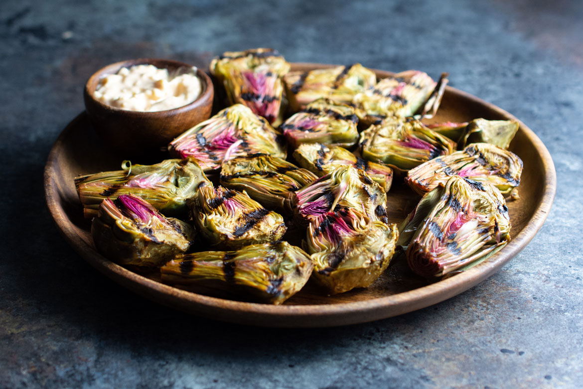 Grilled Baby Purple Artichokes With Parmesan Chipotle Aioli