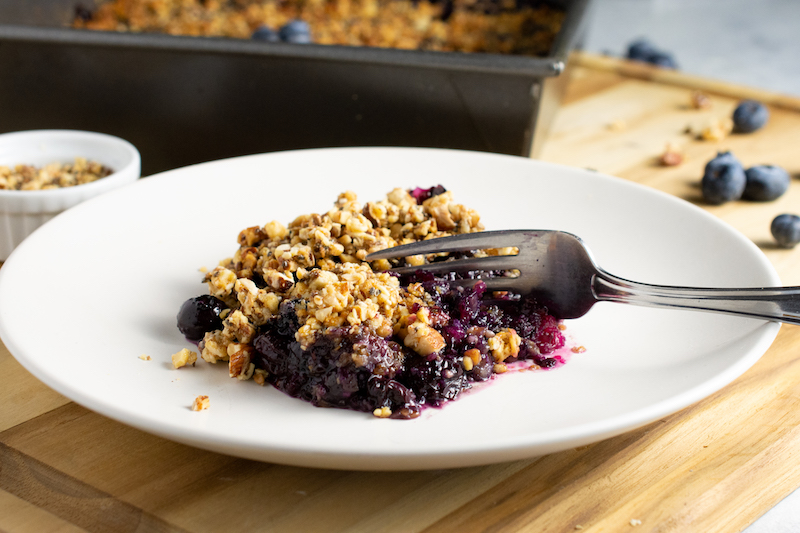 blueberry recipe, crumble, dessert recipe, easter recipe, plant based