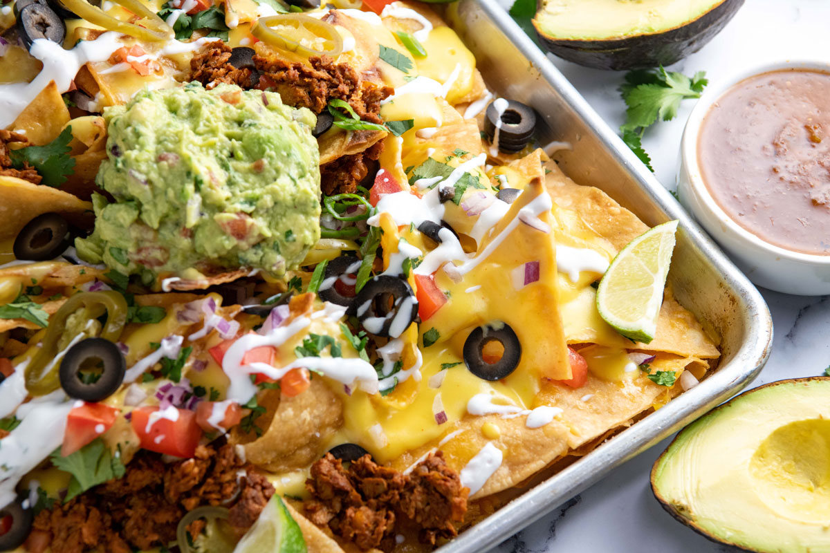 plant based sheet pan nachos
