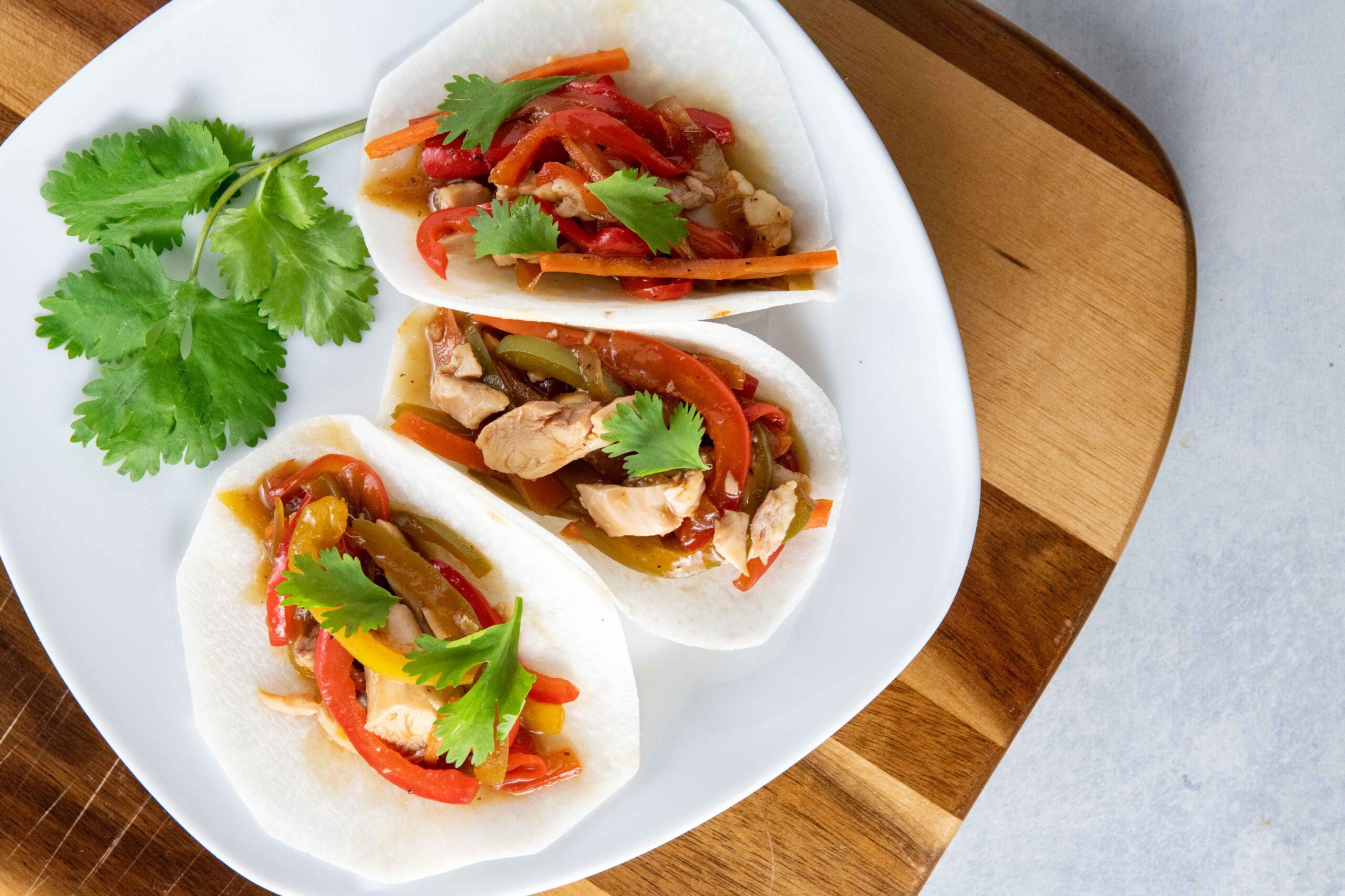 Asian Chicken Jicama Tacos