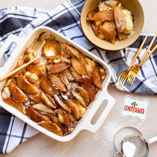 Butterscotch Pear Bread Pudding