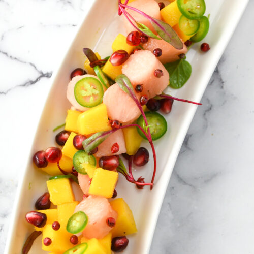 pink pineapple and mango ceviche