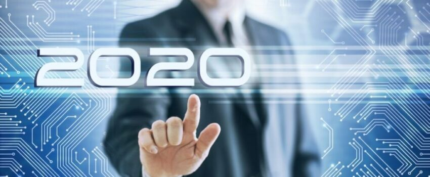 Marketer Man Touching digital 2020 new year