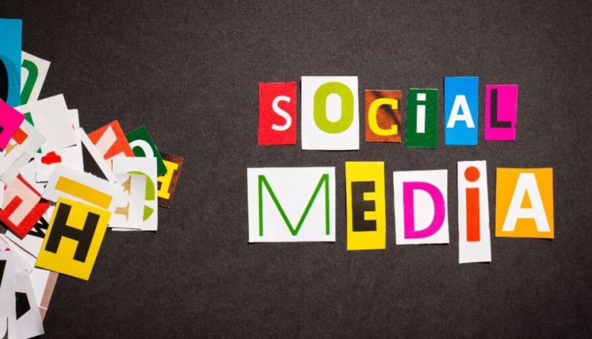 Letter Cutouts Forming Phrase Social Media and the tool kits