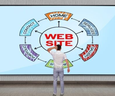 A man looking at his website structure diagram.