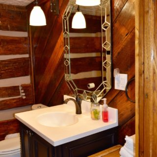 Garden Cabin bathroom vanity - The Cove at Fairview - Vacation Rentals - Asheville, NC