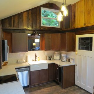 Garden Cabin kitchen has a cathedral ceiling - The Cove at Fairview - Vacation Rentals - Asheville, NC