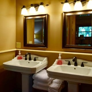 Upstairs Bathroom at The Huntley has a Double Vanity - The Cove at Fairview - Vacation Rentals Asheville NC