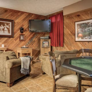 "40"" HD TV in Basement Bedroom at Our House - The Cove at Fairview Vacation Rentals - Asheville NC"