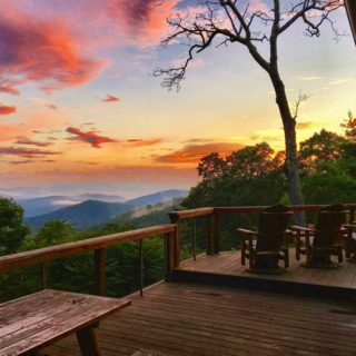 Sunset view from Prayer Ridge porch - The Cove at Fairview vacation rental - Asheville, North Carolina