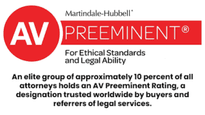 An elite group of approximately 10 percent of all attorneys holds an AV Preeminent Rating, a designation trusted worldwide by buyers and referrers of legal services.