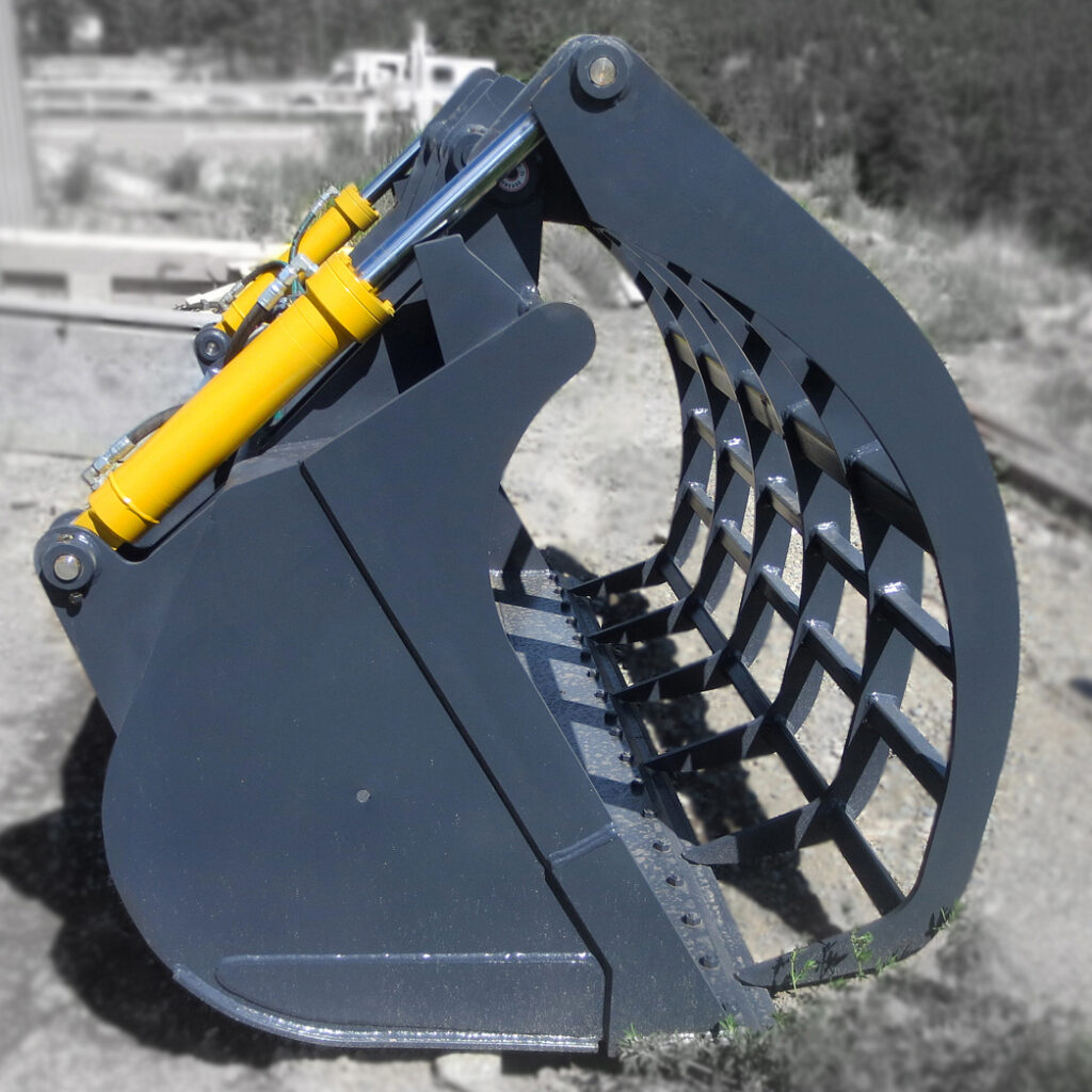 Hydraulic wheel loader cylinders installed onto a corral bucket for agricultural and farming uses.