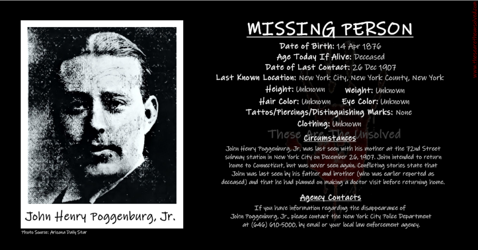 John Poggenburg Jr – The Missing Man You've Never Heard Of