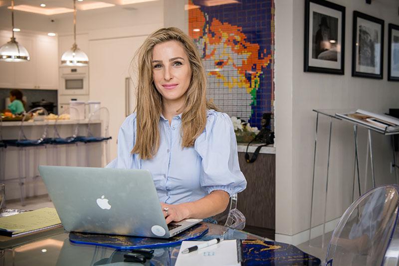 Eda at her desk
