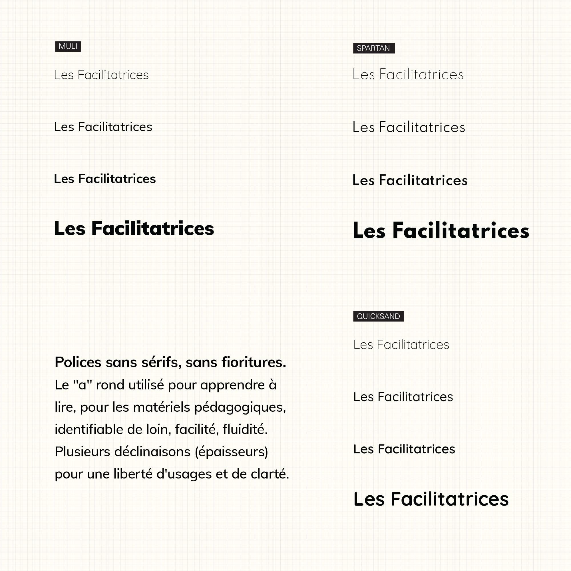 les Facilitatrices typographie