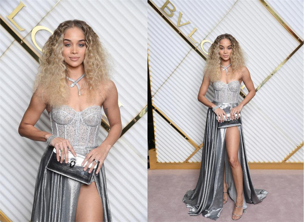 Jasmine Sanders wears a gown by BERTA while BVLGARI Dinner Party