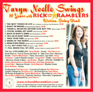 Back Cover of CD Taryn Noelle Swings with song list