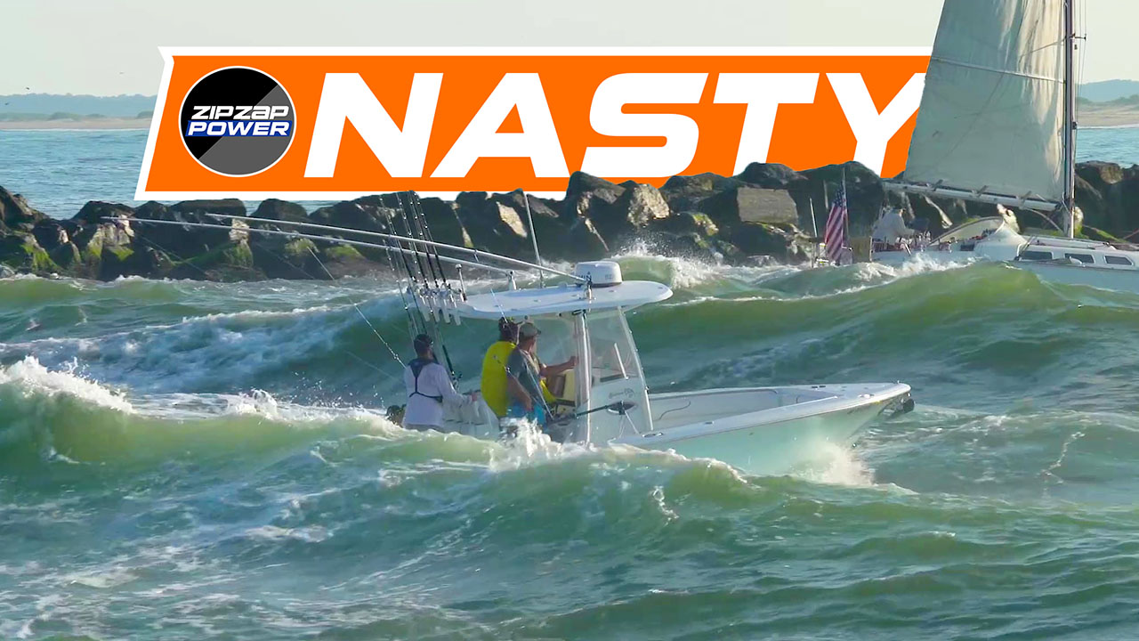 Boats in Nasty Waves in Ocean City, Maryland