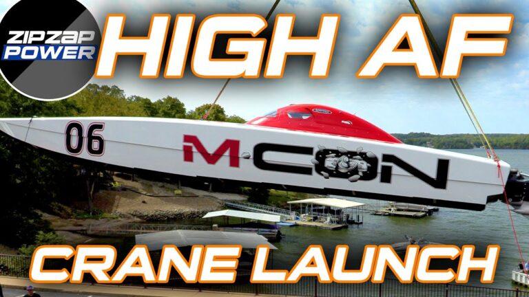Million Dollar Race Boat Crane Launch
