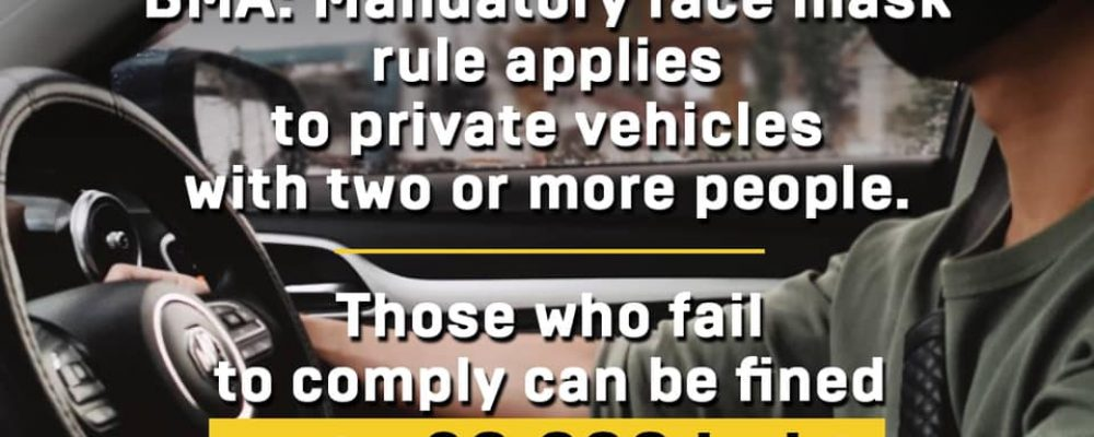 BMA: Mandatory face mask rule applies to private vehicles with two or more people