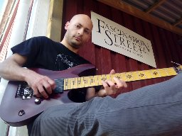 Sal Moretta, Guitarist, Skonnie Music taking a break during recording session at Fascinations Street Studios in Sweden.