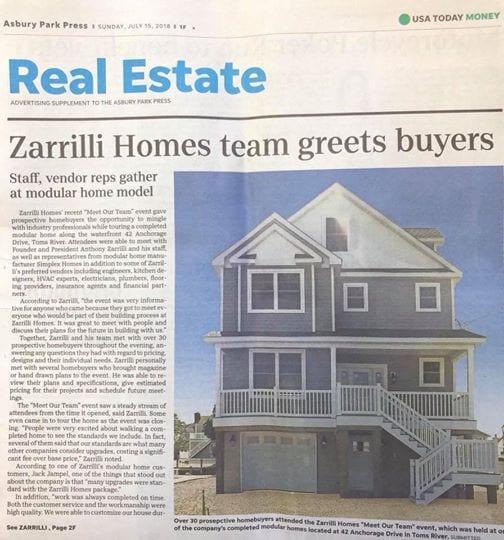 Zarrilli Homes Team Greets Buyers