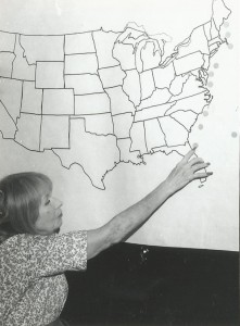 Jean Haviland points to a map showing top 10 shipwrecks of the East Coast. Photo by Ellsworth Boyd.