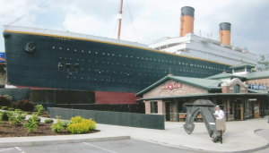 Ellsowrth Boyd inspects the anchor at The Pigeon Forge Titanic Museum.