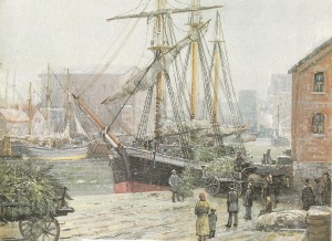 Trees being loaded aboard ship. Painting by Charles Vickery.