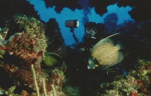 Diver photographs fish on wreck of Hilma Hooker. Photo by Ellsworth Boyd.