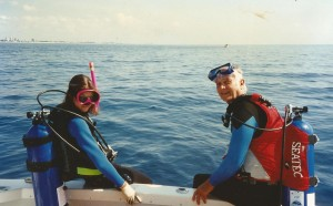 Alison Boyd / Whitty and her father Ellsworth Boyd Prepare for a Dive on the Antilla