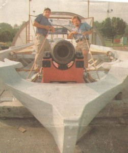 John Kellett & Jesse Levovics of Bladensburg, MD position the bow cannon of a replica of one of Barney's Barges. Barney sank his flotilla to avoid its capture.