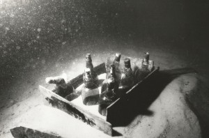 Bottles of whiskey and champagne were found on the wreck. Credit: Wayne Brusate