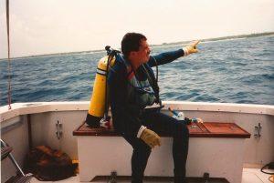 Carl Panzarella Points to Shoreline 1.5 Miles from Wreck (credit E. Boyd)