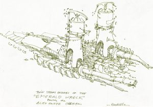 Drawing by Greg Modelle shows the two steam engines.