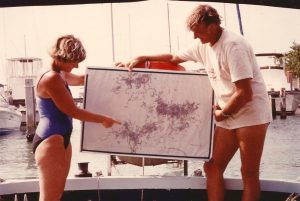 Margaret and Bob Weller show map of their treasure sites. Credit: Ellsworth Boyd