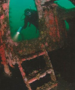 Diver Examines Collapsed Remains
