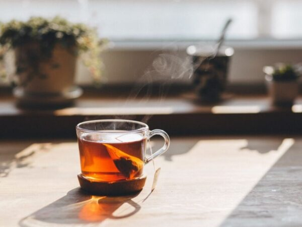 Glass of hot tea