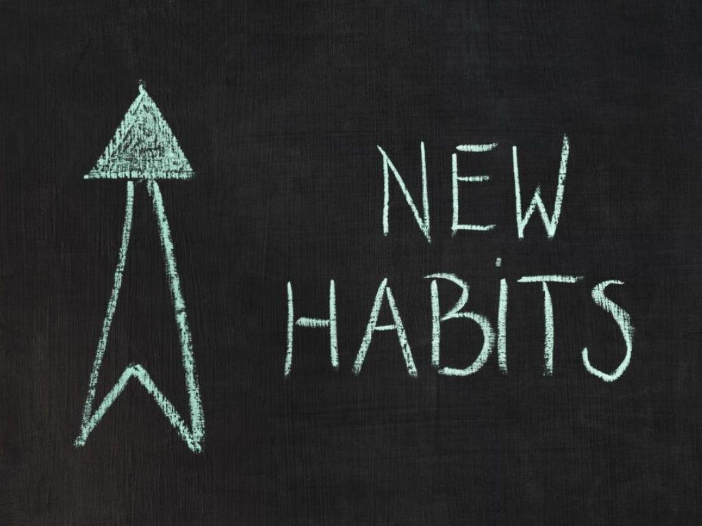 Written in teal: New Habits