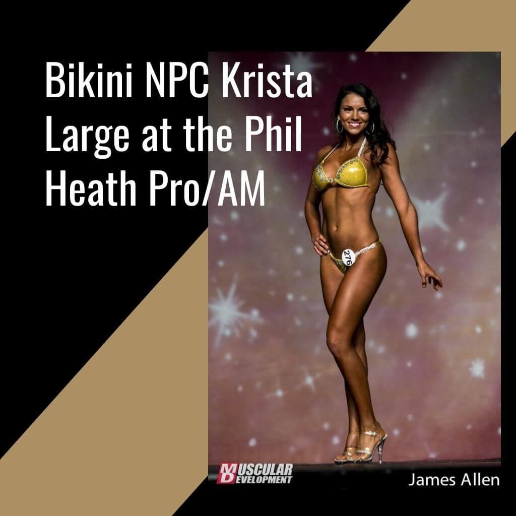 Tan woman in gold bikini posing in bikini competition