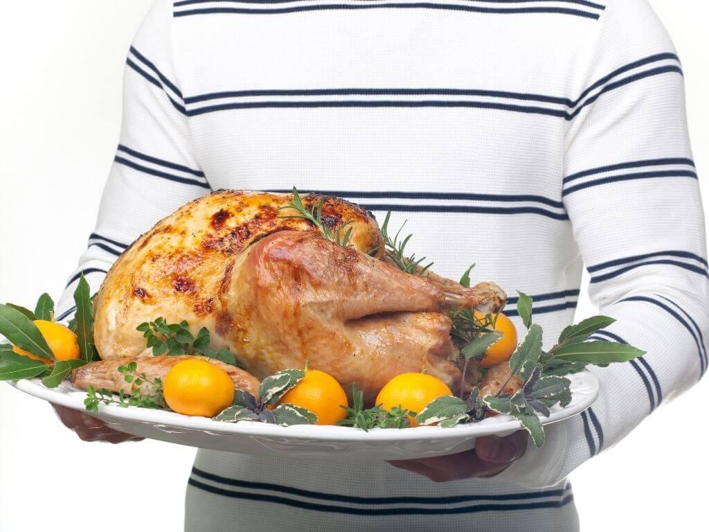 Garnished citrus glazed turkey on a platter ready to be served