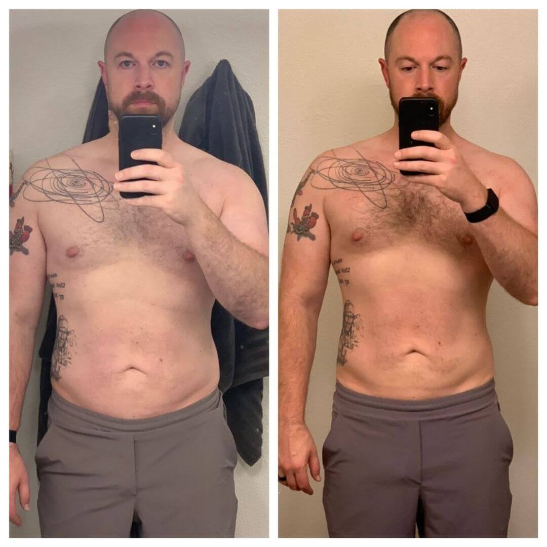 Male Progress photo, side by side comparison