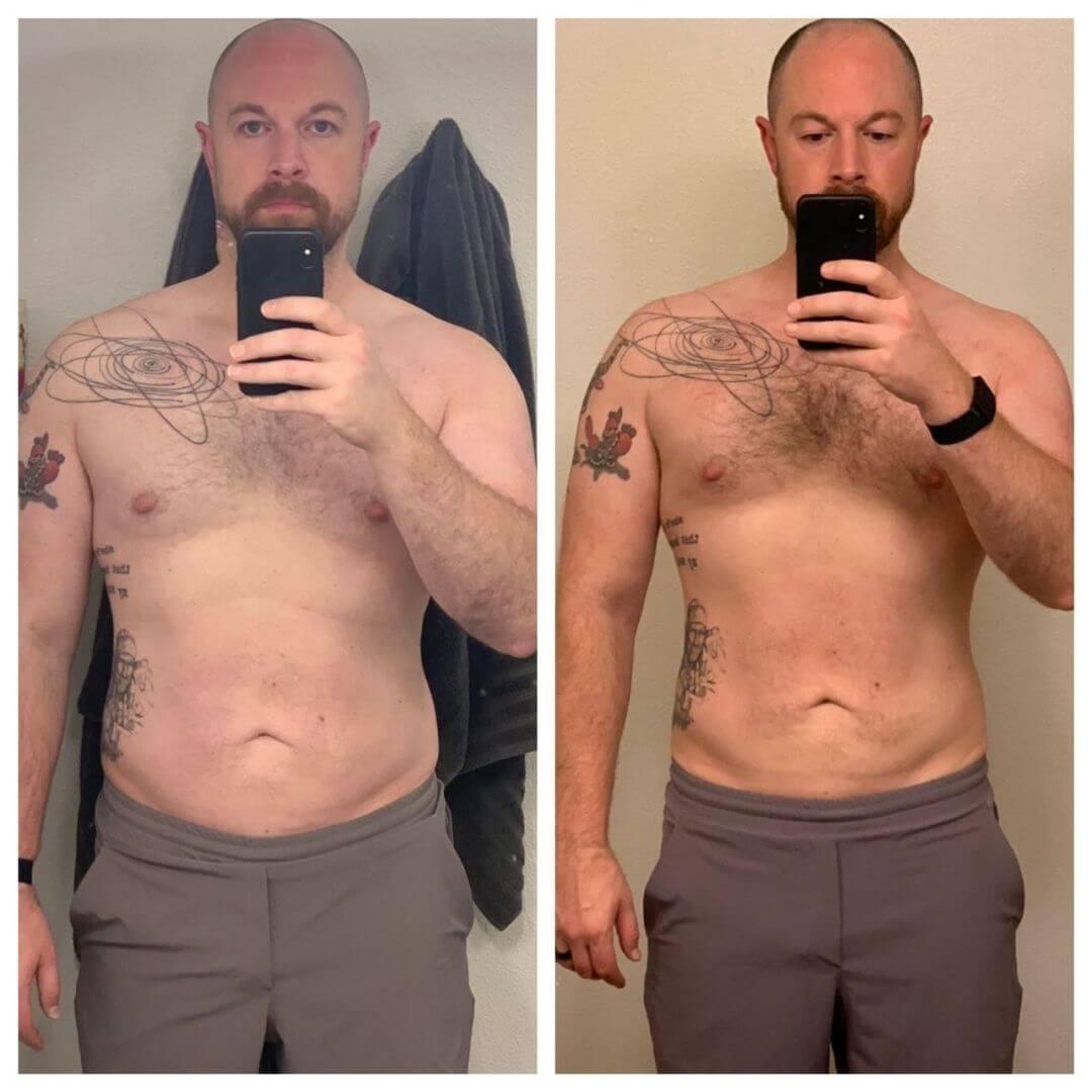 Male Progress photo, side by side comparison