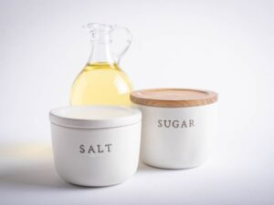 Sugar, Salt, Oil. An unhealthy nutrition image