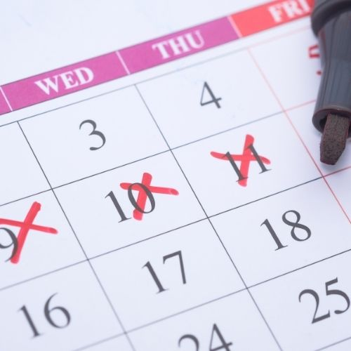 Calendar with big Red X's