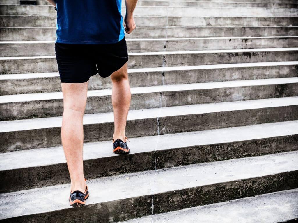 Man running on stairs