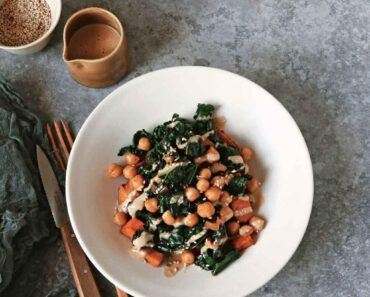 Vegan Smoky Kale And Chickpeas With Miso Peanut Drizzle