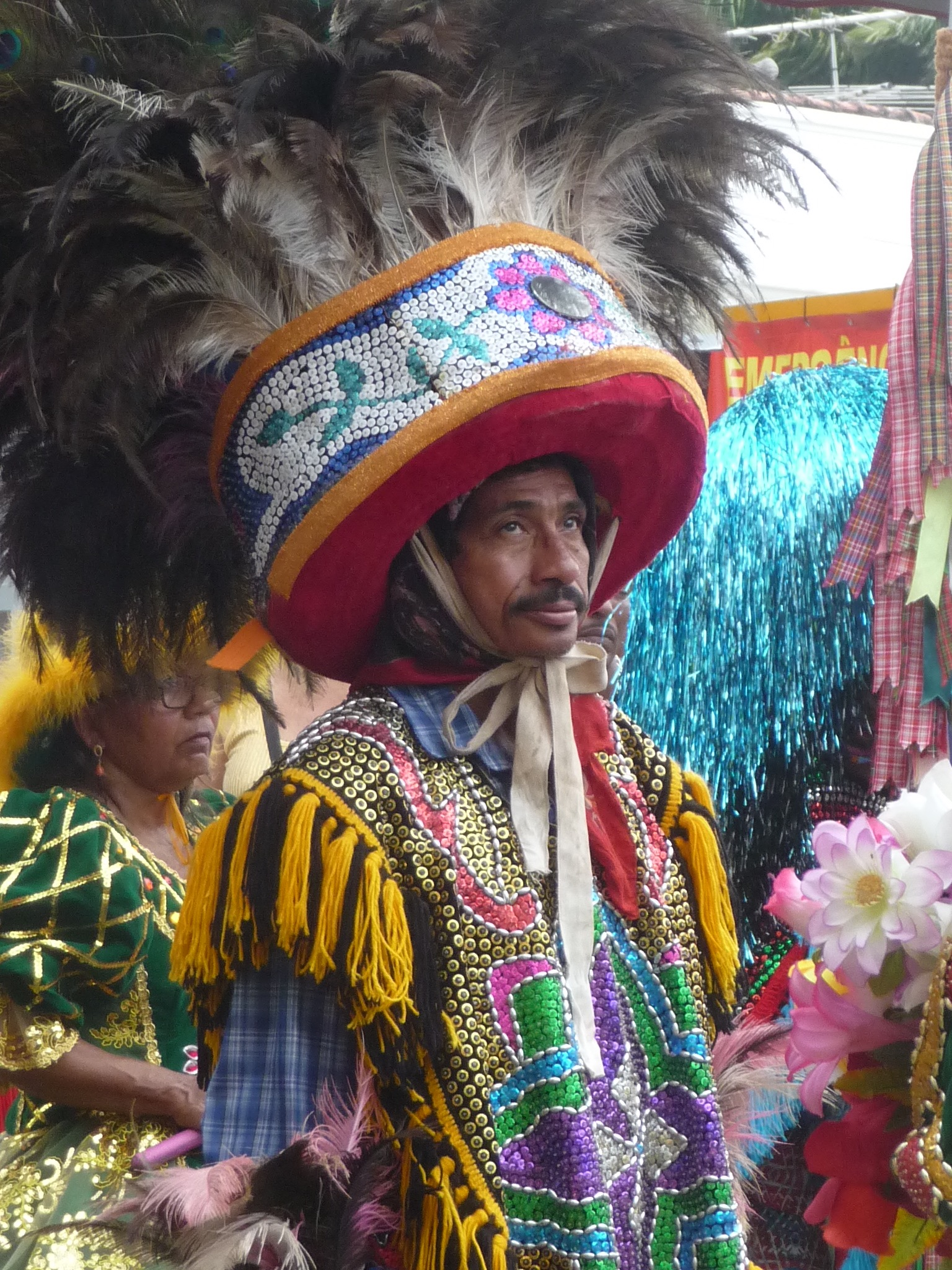 Coboclo, Olinda, with a headdress of peacock feathers